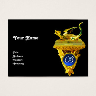 GOLDEN DRAGON GEM MONOGRAM,yellow black,blue Business Card