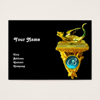 GOLDEN DRAGON GEM MONOGRAM,yellow black, blue Business Card