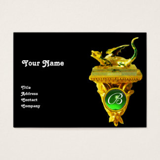 GOLDEN DRAGON GEM MONOGRAM,yellow black,green Business Card