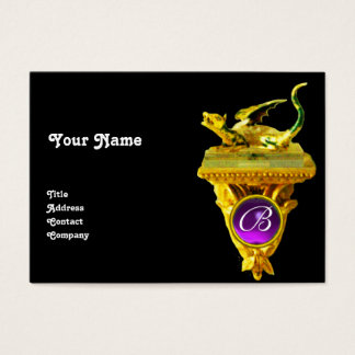 GOLDEN DRAGON GEM MONOGRAM,yellow black, purple Business Card