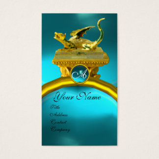 GOLDEN DRAGON GEM MONOGRAM, yellow blue sapphire Business Card