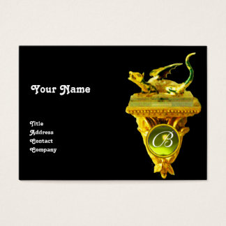GOLDEN DRAGON GEM MONOGRAM,yellow topaz black Business Card