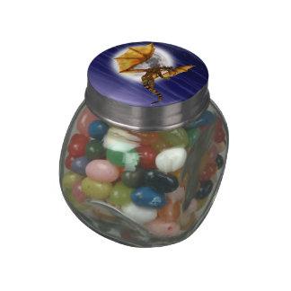 Golden Dragon Glass Candy Jar