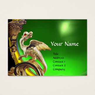 GOLDEN DRAGON GREEN EMERALD Monogram Business Card