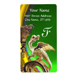 GOLDEN DRAGON GREEN EMERALD Monogram Label
