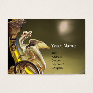 GOLDEN DRAGON GREY AGATE Monogram Business Card