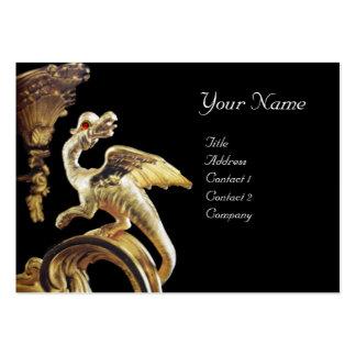 GOLDEN DRAGON IN BLACK Monogram Business Card Template
