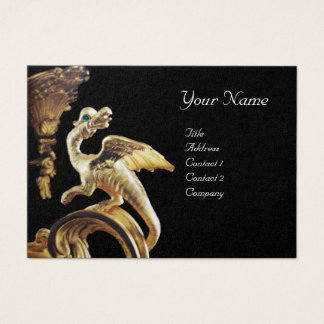 GOLDEN DRAGON IN BLACK Monogram Gold Metallic Business Card