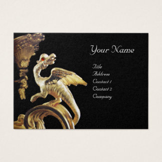 GOLDEN DRAGON IN BLACK Monogram Pearl Paper Business Card