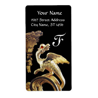 GOLDEN DRAGON IN BLACK RED RUBY Monogram Label