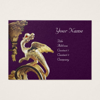 GOLDEN DRAGON IN PURPLE  Monogram Gold Metallic Business Card