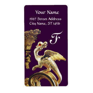 GOLDEN DRAGON IN PURPLE RED RUBY Monogram Label