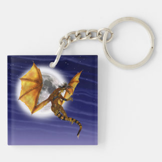 Golden Dragon Square Acrylic Keychains