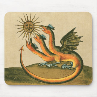 Golden Dragon of Alchemy Sepia Mouse Pad