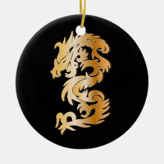 Golden Dragon on  Black Ceramic Ornament