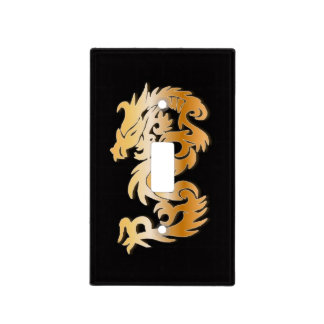Golden Dragon on Black Light Switch Cover