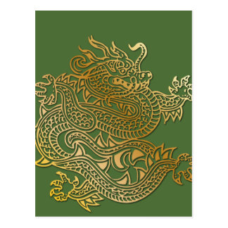 Golden Dragon on Green Post Card