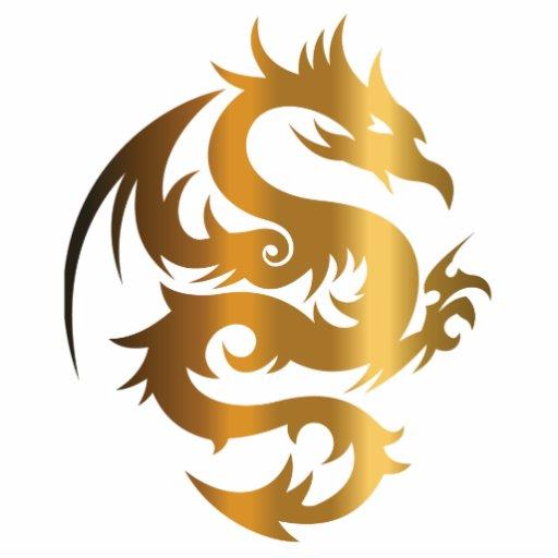 Golden Dragon On Royal Blue Acrylic Cut Out Zazzle