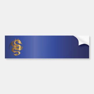 Golden Dragon on Royal Blue Bumper Sticker