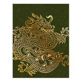 Golden Dragon on Textured Green Post Card