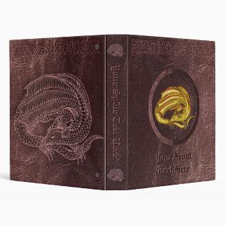 Golden Dragon - On worn leather look background Binder