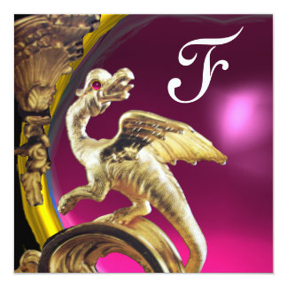 GOLDEN DRAGON PINK FUCHSIA AMETHYST Monogram Card