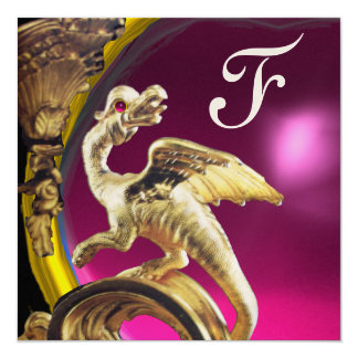 GOLDEN DRAGON PINK FUCHSIA AMETHYST Monogram Gold Card