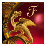 GOLDEN DRAGON PINK FUCHSIA AMETHYST Monogram Gold Personalized Invitations