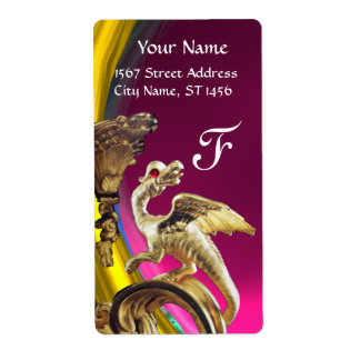 GOLDEN DRAGON PINK FUCHSIA AMETHYST Monogram Label