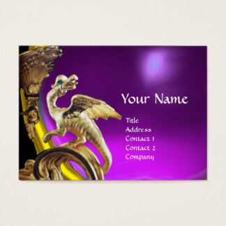 GOLDEN DRAGON PURPLE VIOLET AMETHYST Monogram Business Card