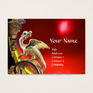 GOLDEN DRAGON RED RUBY Monogram Business Card