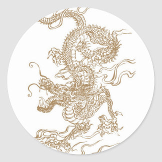 Golden Dragon Round Stickers