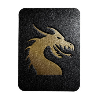 Golden dragon silhouette on black leather magnet