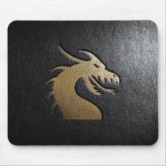 Golden dragon silhouette on black leather mouse pad
