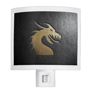 Golden dragon silhouette on black leather night light