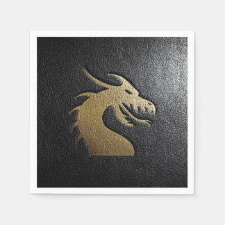 Golden dragon silhouette on black leather standard cocktail napkin