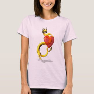 Golden Dragon With Big Red Heart T-Shirt