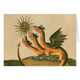 Golden Dragon with Sun and Moon Card