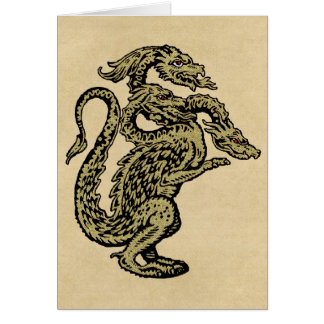 Golden Dragon with Three Heads Card