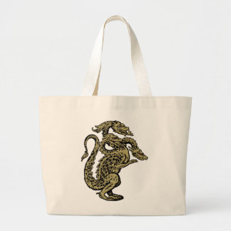 Golden Dragon with Three Heads Large Tote Bag