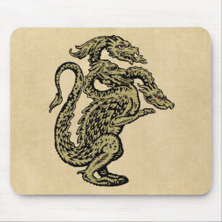 Golden Dragon with Three Heads Mouse Pad