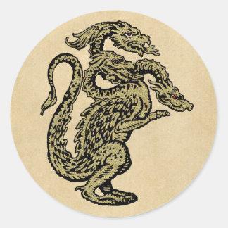 Golden Dragon with Three Heads Round Sticker