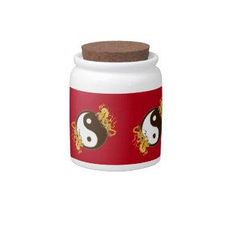 Golden Dragon Yin Yang Sweet Jar Candy Dish