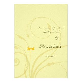 Golden Dragonflies Flourish Invitation