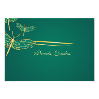 Golden Dragonflies Thank You Notes Personalized Announcements
