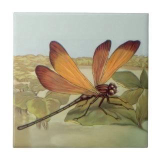 Golden Dragonfly Ceramic Tile