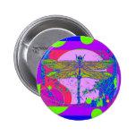 Golden Dragonfly modern design by Sharles Pinback Button