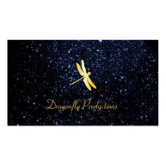 Golden Dragonfly / Night Sky Double-Sided Standard Business Cards (Pack Of 100)
