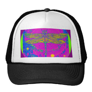 Golden Dragonfly On Purple by Sharles Hats