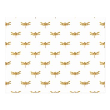 Halloween Themed Golden Dragonfly Repeat Gold Metallic Foil Postcard